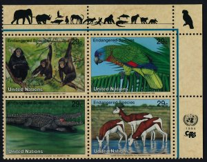 United Nations - New York 642a TR Block MNH Chimpanzee, Parrot, Crocodile
