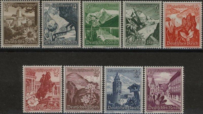 Stamp Germany Mi 675-83 Sc B123-31 1938 Occupied Austria Landscape Flower MH