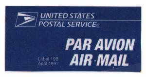 UNITED STATES POSTAL SERVICE AIR MAIL LABEL USED (ISSUE APRIL 1997) (AM28)