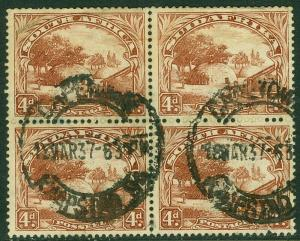 EDW1949SELL : SOUTH AFRICA 1932 Scott #40 Reddish Brown. Block of 4. Cat $420+