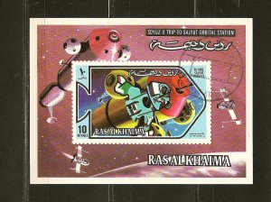 Ras al Khaima Soyus II Space 1970's Souvenir Sheet CTO