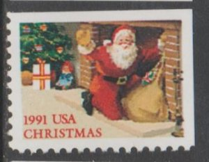 U.S. Scott #2584 Christmas 1991 Santa Fireplace Stamp - Mint NH Stamp