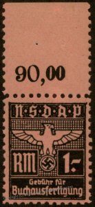 Germany NSDAP Party 1 RM Buchausfertigung Book Preparation Stamp MNH 96207