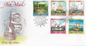 Norfolk Islands FDC Sailing Ships 5 Stamps 1987