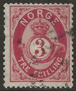 Norway 1872-75 Porthorn 3sk Carmine/Bluish thin paper #18b Fine Used CV $32.50