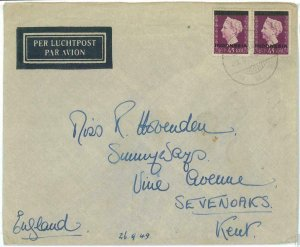 93741 - INDONESIA  - POSTAL HISTORY - OVERPRINTED stamps  Airmail COVER  1949
