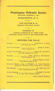 Washington Philatelic Society  Circuit Book 1941
