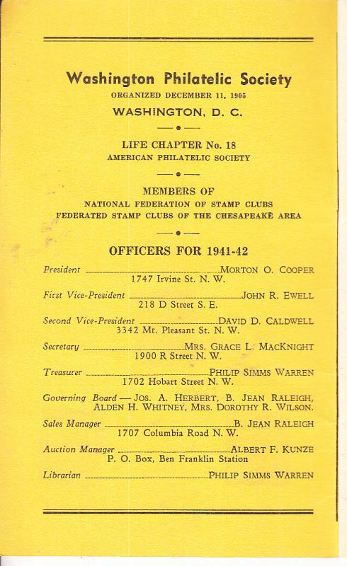 Washington Philatelic Society  Circuit Book 1941