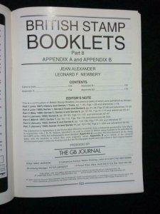 BRITISH STAMP BOOKLETS PART 8 APPENDIX A & APPENDIX B by ALEXANDER & NEWBERY