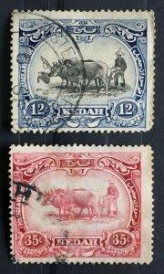 MALAYA 1926 KEDAH 12c & 35c MSCA USED SG#58 & 59 M2649