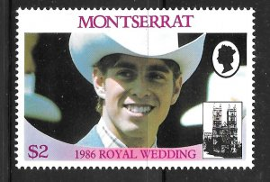 Montserrat 616a: $2 Prince Andrew in cowboy hat, MH, VF