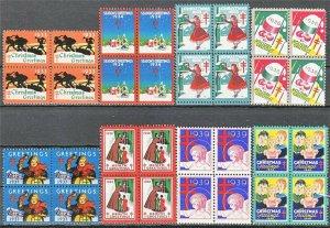 Stamp US Christmas Seals Blocks 1933-40 Greetings Health TB American Lung MNH