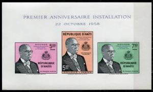 Haiti 1958; Sc. # C125a; */MH Imperforate Souvenir Sheet
