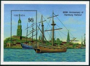 Grenada 1799,MNH.Michel 2076 Bl.236. Hamburg,800th Ann.1990.Ship,13th cent.