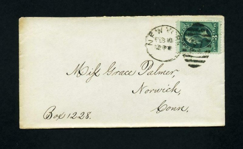 Cover from New York, New York to Norwich, Connecticut dated 2-10-1870's