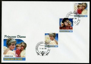 NIGER 2020  PRINCESS DIANA SET OF THREE FIRST DAY COVER
