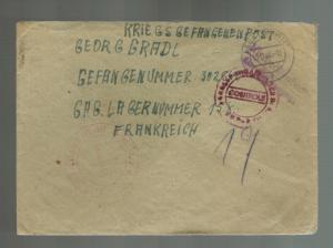 1946 Pegnitzland Germany to France Prisoner of War Camp POW Cover Georg Gradl