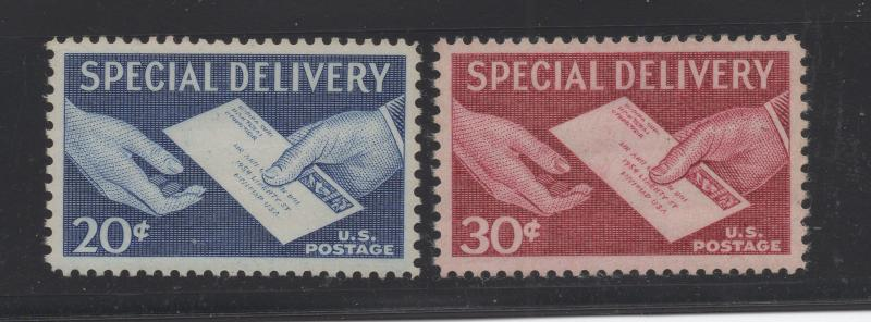 United States US 1954 - 7 Special Delivery Stamps 20c - 30c Scott E20-E21 MNH
