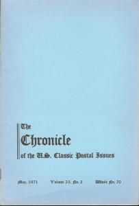 The Chronicle of the U.S. Classic Issues, Chronicle No. 70