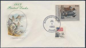 #RW50 1983 PINTAIL DUCKS ON FIRST DAY COVER BY FARNAM CACHET BS9809