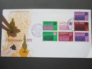 AUSTRALIA 1971 XMAS FDC BLOCK OF 7 SOME STAINING SYDNEY PHILATELIC CANCEL