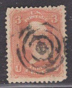 US Stamp #94 3c Rose Washington F Grill USED SCV $12.50