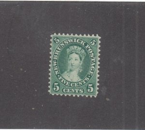 NEW BRUNSWICK # 8a VF-MNG 5cts 1860 QN VICTORIA /BLUE GREEN /CENTS ISSUE CV $40
