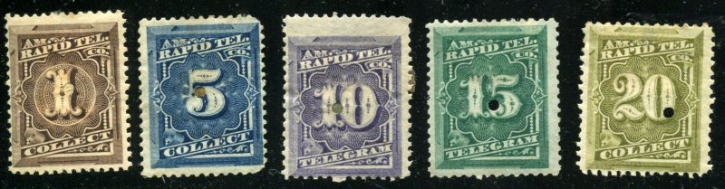 Telegraph stamp selection  5 Different 1c // 20c