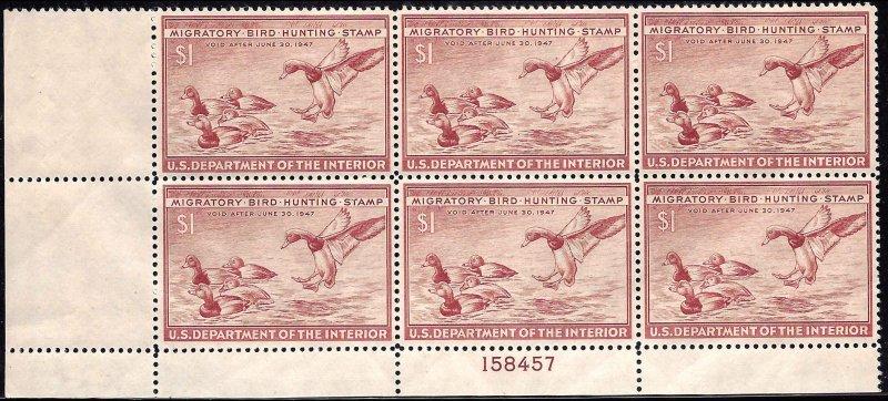 RW13 Mint,OG,NH... Plate Block of 6... SCV $310.00... XF Beauty