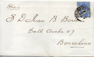1902 Sg 230 2½d on 1902 Cover From Newcastle Upon Tyne to Barcelona
