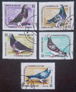 CUBA Sc# 4181-4185 CUBAN PIGEON FANCIERS Complete set of 5 2001 used / cancelled
