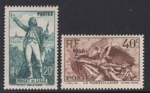 France 1936 La Marseillaise set Sc# 309-10 NH
