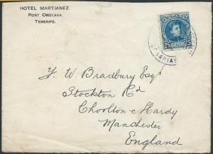SPAIN CANARY ISLANDS 1902 cover Tenerife to UK, Plymouth / Ship Letter.....40826