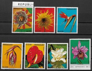 1973 Paraguay 1531 Flowers MNH complete set of 7