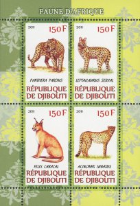 African Fauna Wild Cats Souvenir Sheet of 4 Stamps MNH