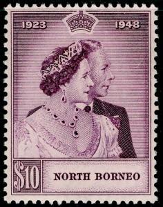 NORTH BORNEO SG351, $10 mauve, M MINT. Cat £32. RSW