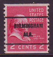 Birmingham AL, 841-61 Bureau Precancel, 2¢ coil J. Adams