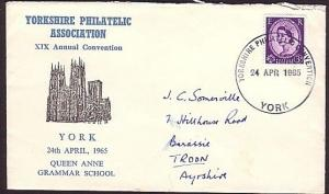 GB 1965 Yorkshire Philatelic Convention commem cover & cancel..............32651