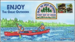 20-110, 2020, Enjoy the Great Outdoors, Digital Color Postmark, FDC, Canoeing