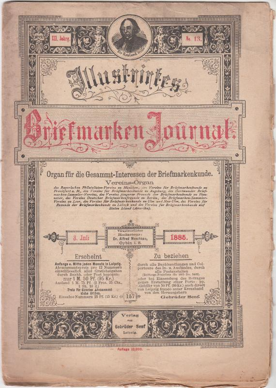 Germany - Briefmarken Journal 3 July 1885 #13 (Leipzig)