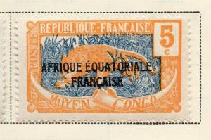 Middle Congo 1924 Early Issue Fine Mint Hinged 5c. Optd 324726