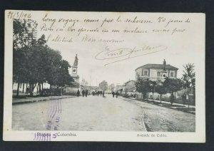 1914 Bogota Colombia to Paris France Colon Avenue Real Picture Postcard Cover