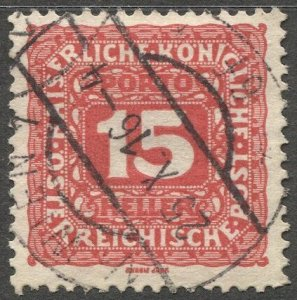 AUSTRIA 1916 Postage Due Sc J51  15h Used VF Wien cancel