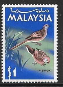 MALAYSIA SG24 1965 $1  BIRD  MNH