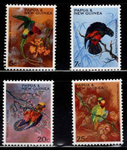 PNG Papua New Guinea Scott 249-252 Parrot Bird set