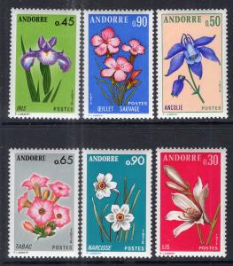 Andorra French 222-227 Flowers MNH VF