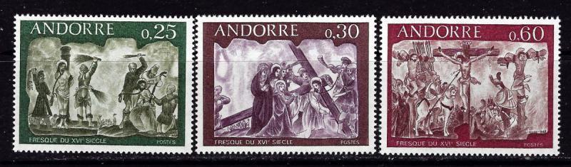 French Andorra 185-87 NH 1968 Frescoes