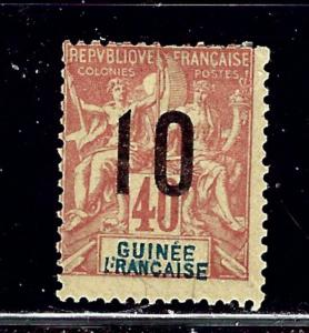 French Guinea 61 MH 191 surcharge short perfs on top