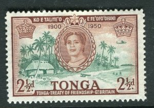 TONGA; 1951 early Treaty issue fine Mint hinged 2.5d. value
