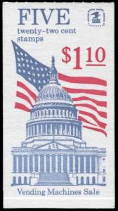 US Scott # 2116a  BK144 22¢ Flag Over Capitol Booklet